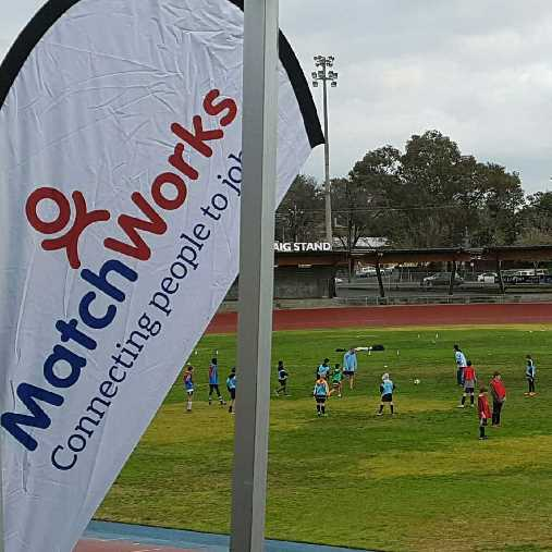 MatchWorks flag at community football game