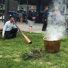 Kyle Freeman conducts a traditional Welcome to Country and smoking ceremony.