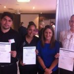 MatchWorks job seekers Tony, Shoneil and Ruth with Indigenous Employment Consultant Karen Muir, second from right