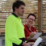 Work for the Dole participant Keenan Scott and MatchWorks Work for the Dole Coordinator Donna Morrison at the Hope Garden graduation.