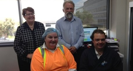 Job seekers Liz and Leanne with Graeme and Matthew at the GrainCorp West Footscray site.