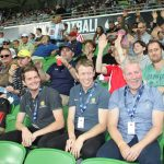 Karingal CEO Mike McKinstry with Karingal and St Laurence clients at the Melbourne City game.
