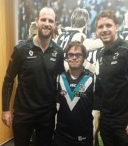 MatchWorks job seeker Jack (middle) with PAFC players Travis Boak (Captain) and Matthew Broadbent.