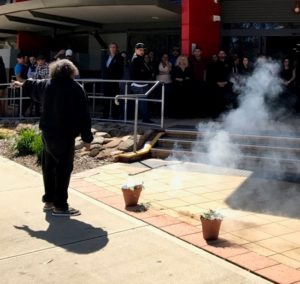 Participants gather for the Smoking Ceremony at the Deadly Yakka launch in Kwinana, WA.