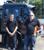 Aydin with his employer at Melton Smash Repairs.