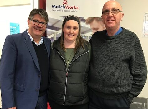 MatchWorks DES Director Colin Entwistle, job seeker Lyndell and MatchWorks Employment Consultant Mark MacDonald.