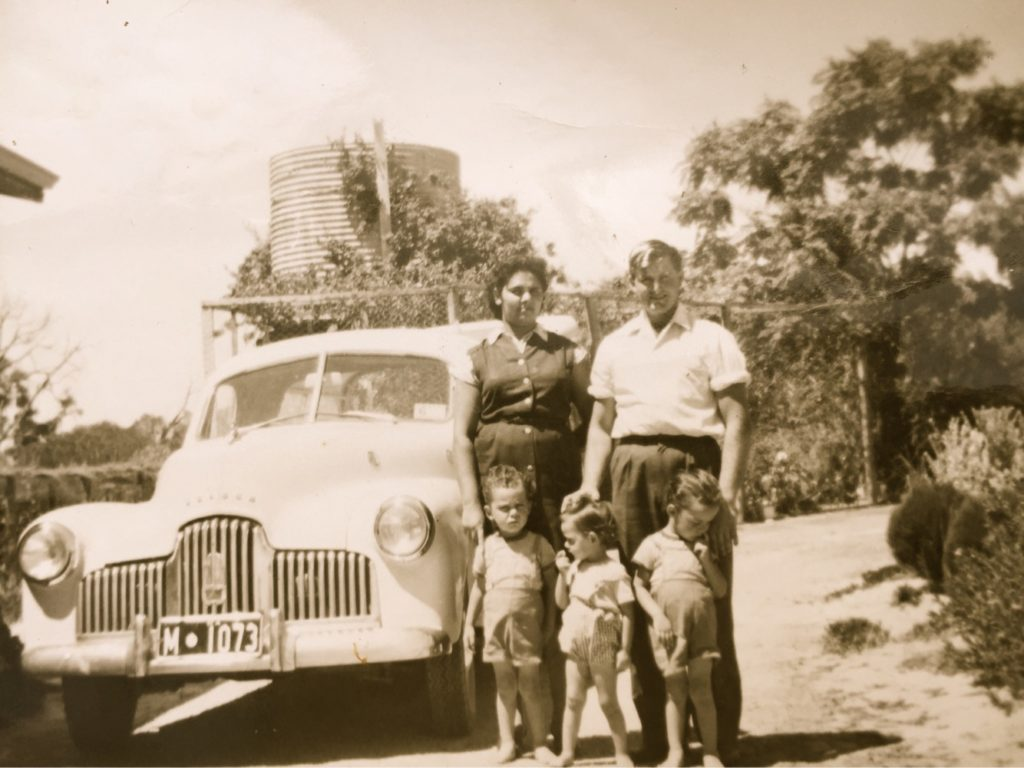 Marion, centre, with her parents and brothers Mark and Tom in the 1960's.